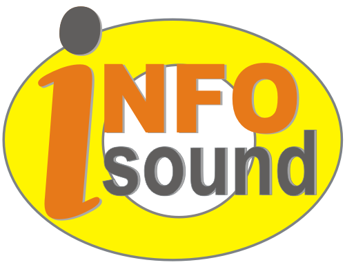 "The Infosound logo - the words ""info"" and ""sound"" inside a yellow and white eye shape"